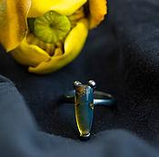 """Украшения ручной работы. Ярмарка Мастеров - ручная работа Серебряное кольцо с голубым янтарем """"Темная вселенная"""". Handmade."""