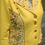 Одежда ручной работы. Ярмарка Мастеров - ручная работа Пиджак женский Желтый ажур. Handmade.