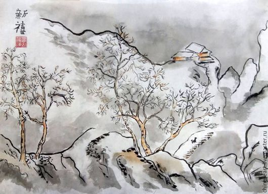 Пейзаж ручной работы. Ярмарка Мастеров - ручная работа. Купить Зимний пейзаж. Handmade. Зима, китайская живопись, рисовая бумага