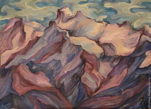Пейзаж ручной работы. Ярмарка Мастеров - ручная работа. Купить Фантазии на тему: Розовые горы. Handmade. Пейзаж, горный пейзаж