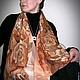 Шали, палантины ручной работы. 'Кофейные розы' Палантин или панно батик. BATIK&STYLE. Ярмарка Мастеров. Одежда, роза