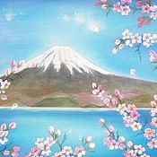 """Картины и панно ручной работы. Ярмарка Мастеров - ручная работа Картина на шелке двухслойная """"Фудзияма и  Сакура  -. Handmade."""
