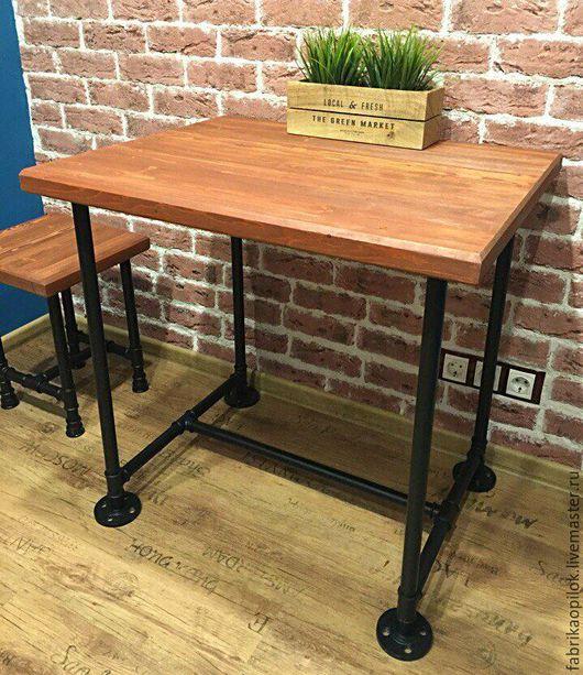 Мебель ручной работы. Ярмарка Мастеров - ручная работа. Купить Стол обеденный из водопроводных труб и дерева. Handmade. Комбинированный, масло
