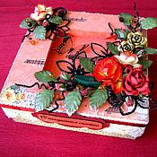 """Открытки ручной работы. Ярмарка Мастеров - ручная работа Коробочка для денег, подарка """"Бабочки на красном"""".. Handmade."""