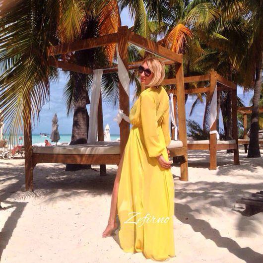 Пляжные туники ручной работы. Ярмарка Мастеров - ручная работа. Купить Туника пляжная цвет жёлтый. Handmade. Однотонный, familylook