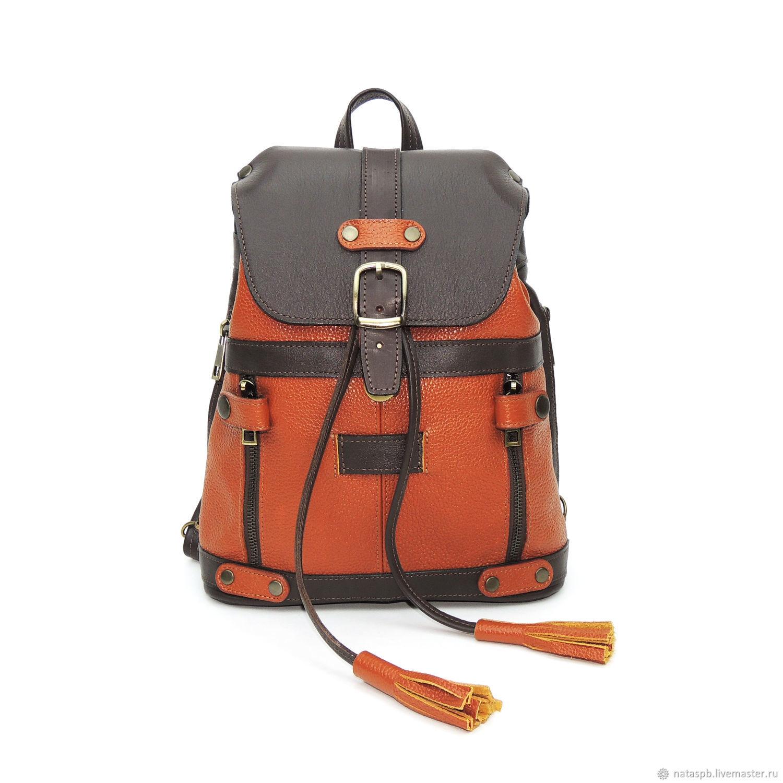 Bag backpack women's leather brown red Lissie, Backpacks, St. Petersburg,  Фото №1