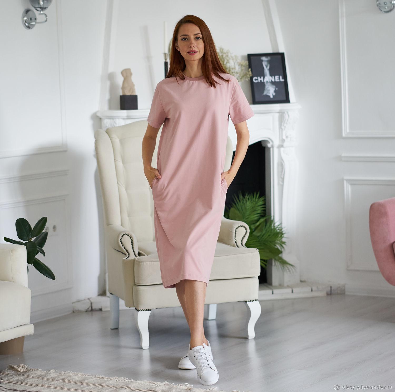 Платье-футболка оттенок пудра, Платья, Сочи,  Фото №1