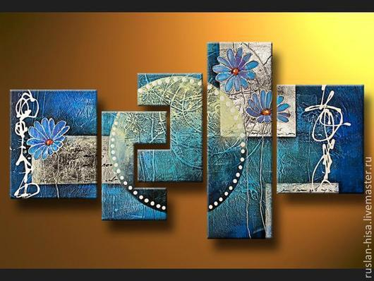 Абстракция ручной работы. Ярмарка Мастеров - ручная работа. Купить Абстракция с цветами. Handmade. Бирюзовый, картина, купить подарок