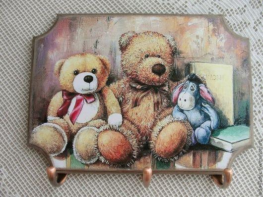 Прихожая ручной работы. Ярмарка Мастеров - ручная работа. Купить Панно-ключница-вешалка Медвежата  Тедди. Handmade. Ключница