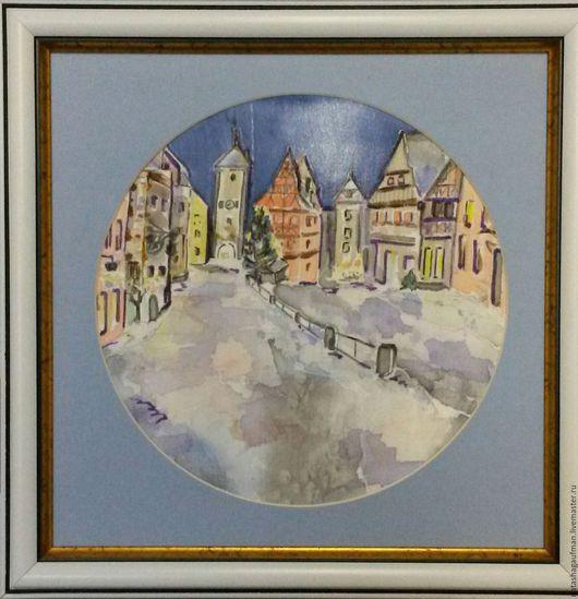 """Пейзаж ручной работы. Ярмарка Мастеров - ручная работа. Купить Картина на ткани """"Зимний городок в Германии"""". Handmade. Разноцветный"""