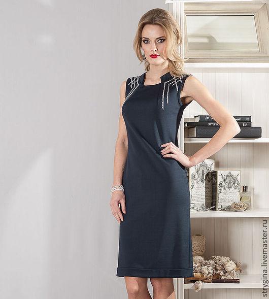 Платья ручной работы. Ярмарка Мастеров - ручная работа. Купить Платье Catena. Handmade. Тёмно-синий, strygina, офисное платье