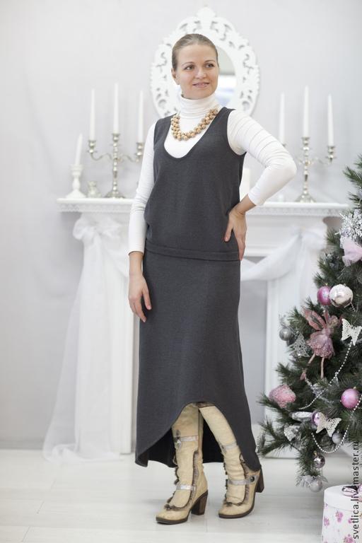Костюмы ручной работы. Ярмарка Мастеров - ручная работа. Купить Костюм жилет и юбка хлопок. Handmade. Темно-серый