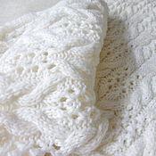 Аксессуары handmade. Livemaster - original item White knitted Snood Scarf white Merino wool. Handmade.