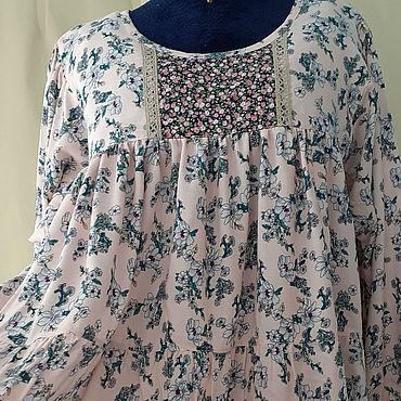 Одежда ручной работы. Ярмарка Мастеров - ручная работа Блузки: Ярусная блузка из штапеля. Handmade.