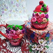 Кружки ручной работы. Ярмарка Мастеров - ручная работа Кружка и сахарница с декором из полимерной глины. Handmade.