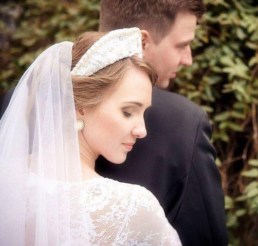 Свадебные украшения ручной работы. Ярмарка Мастеров - ручная работа. Купить Корона (кокошник) для невесты. Handmade. Свадьба, жемчуг, майолика