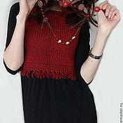 """Одежда ручной работы. Ярмарка Мастеров - ручная работа """"Бордо"""" Женский жилет вязаный винного цвета. Handmade."""
