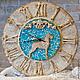 """Часы для дома ручной работы. Ярмарка Мастеров - ручная работа. Купить Настенные часы """"Дог на голубом"""". Handmade. Белый"""