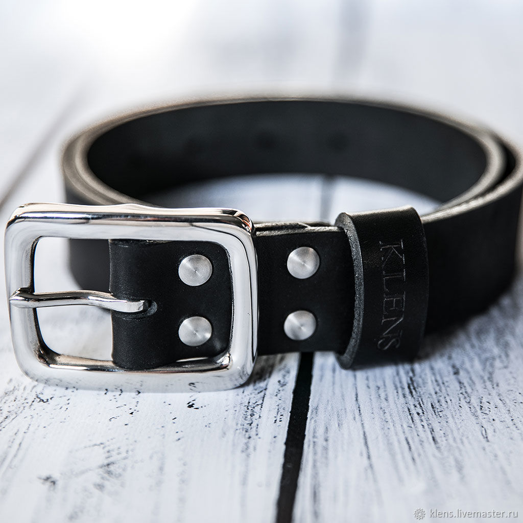 Men's genuine leather belt, buckle and screws-stainless steel, Straps, Sergiev Posad,  Фото №1
