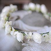 """Свадебный салон ручной работы. Ярмарка Мастеров - ручная работа Диадема из цветов """"Нежность белого"""". Handmade."""