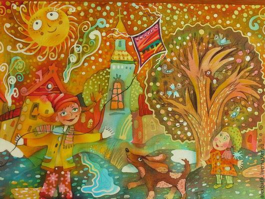 """Фантазийные сюжеты ручной работы. Ярмарка Мастеров - ручная работа. Купить Горячий батик """"Весенее настроение"""". Handmade. Разноцветный, весна"""