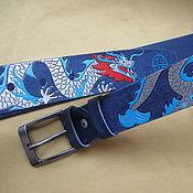 """Ремни ручной работы. Ярмарка Мастеров - ручная работа ремень кожаный  """"драконы цветные"""". Handmade."""