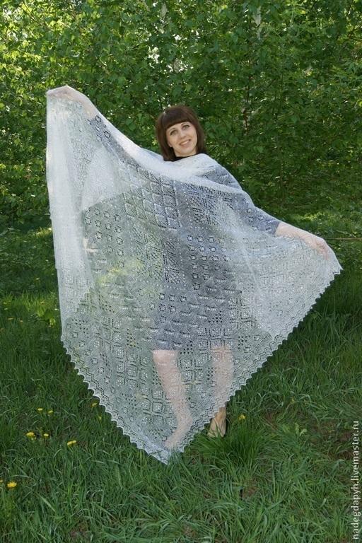 Шали, палантины ручной работы. Ярмарка Мастеров - ручная работа. Купить 54-платок  паутинка Пуховое очарование , аксессуары , шаль. Handmade.