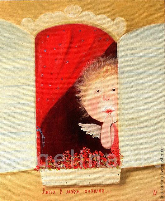 """Юмор ручной работы. Ярмарка Мастеров - ручная работа. Купить Картина маслом """"Ангел в моем окошке"""".. Handmade. Маленький ангел"""