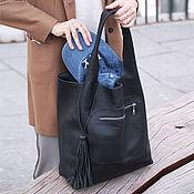 Сумки и аксессуары handmade. Livemaster - original item Bag Leather Bag Bag Black String Bag Shopper Bag. Handmade.
