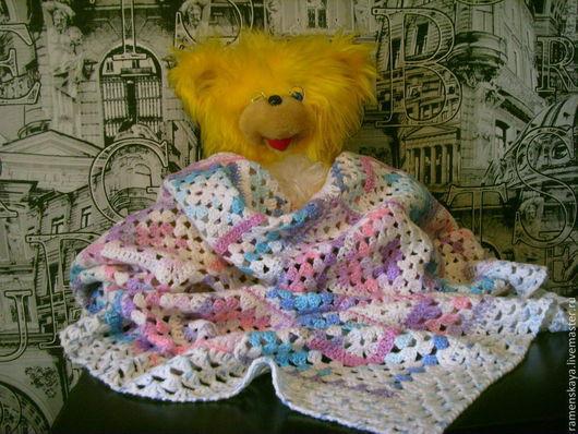 Пледы и одеяла ручной работы. Ярмарка Мастеров - ручная работа. Купить Детский  цветной плед.. Handmade. Плед, плед вязаный