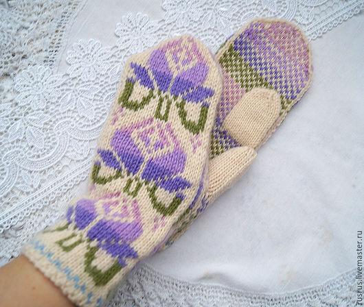 Варежки, митенки, перчатки ручной работы. Ярмарка Мастеров - ручная работа. Купить Варежки вязаные НЕЖНЫЕ. Handmade. Комбинированный, рукавички