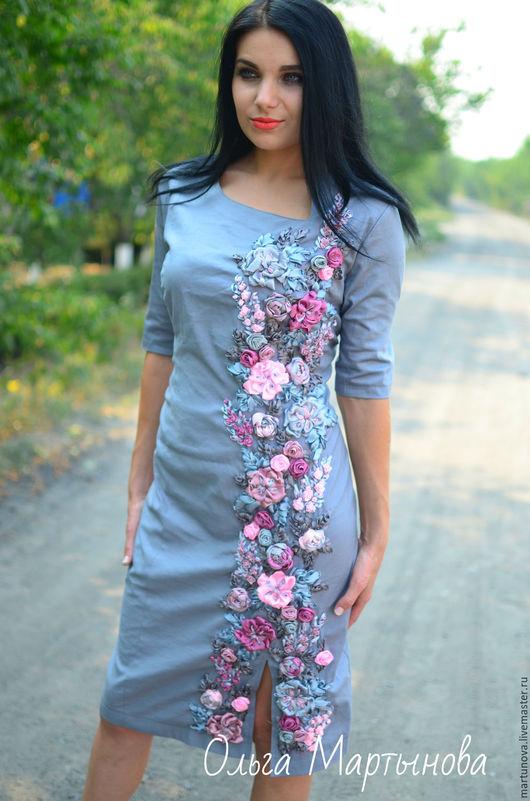 Платья ручной работы. Ярмарка Мастеров - ручная работа. Купить вышивка лентами. Handmade. Серый, платье коктейльное, вышитое платье