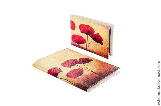 Обложки ручной работы. Ярмарка Мастеров - ручная работа. Купить Комплект Poppies. Handmade. Цветочный, обложка на паспорт, визитница