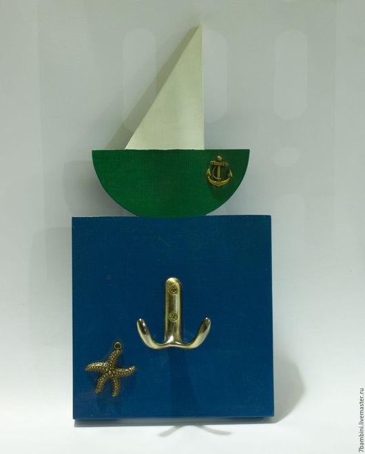 """Детская ручной работы. Ярмарка Мастеров - ручная работа. Купить Вешалка """"Парус"""". Handmade. Комбинированный, зеленый, зеленый цвет, паруса"""