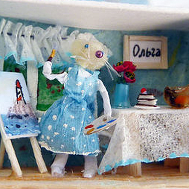 """Подарки к праздникам ручной работы. Ярмарка Мастеров - ручная работа Именная микроминиатюра """"Мышка художница"""". Handmade."""