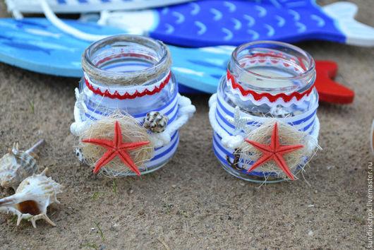 Подсвечники ручной работы. Ярмарка Мастеров - ручная работа. Купить Подсвечники для детской или для фотосессии в морском стиле. Handmade. Синий