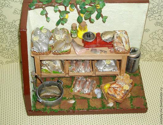 Кукольный дом ручной работы. Ярмарка Мастеров - ручная работа. Купить Рыбная лавка 2. Handmade. Кукольная миниатюра, дерево