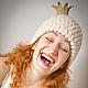 """Шапки ручной работы. Ярмарка Мастеров - ручная работа. Купить Шапка с короной """"Белая и пушистая"""". Handmade. Зима 2012"""