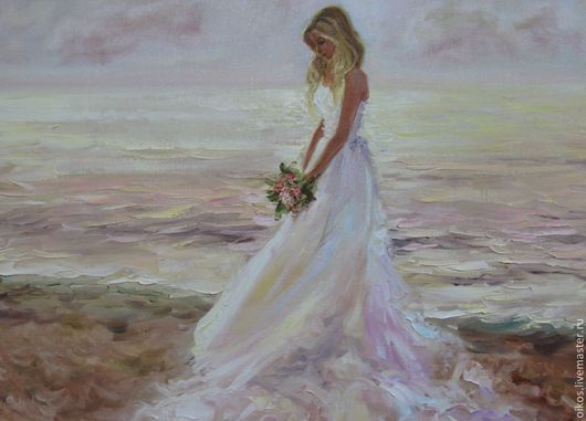 Подарки на свадьбу ручной работы. Ярмарка Мастеров - ручная работа. Купить Картина маслом - жемчужная невеста. Handmade. Пастельный, море