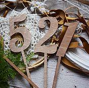 Свадебный салон ручной работы. Ярмарка Мастеров - ручная работа Wooden - номерки топперы на свадебные столы. Handmade.