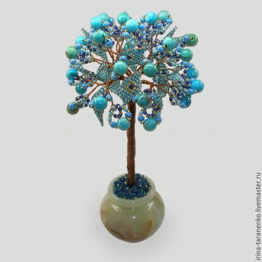 Дерево из бирюзы `Моя нежность` в вазочке из оникса