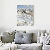 Картины и панно ручной работы. Ярмарка Мастеров - ручная работа картина акрилом Горы, воздух, снег... (нежно-голубой, белый, серый). Handmade.