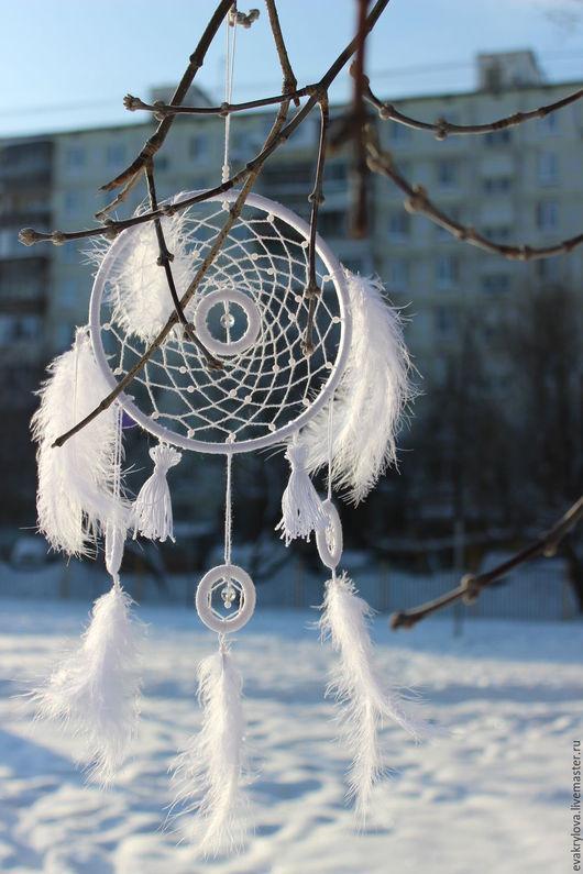 """Ловцы снов ручной работы. Ярмарка Мастеров - ручная работа. Купить """"Зимние сны"""". Handmade. Белый, ловушка для сновидений, дерево"""