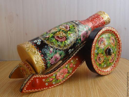 """Подарочное оформление бутылок ручной работы. Ярмарка Мастеров - ручная работа. Купить Футляр для бутылки 0.5 Пушка """" Традиция"""". Handmade."""