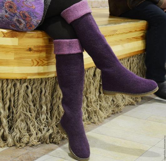 Обувь ручной работы. Ярмарка Мастеров - ручная работа. Купить Сапоги валяные. Handmade. Фуксия, валенки ручной валки