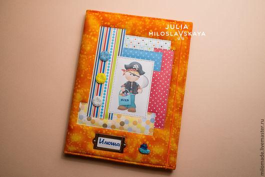 """Папки для бумаг ручной работы. Ярмарка Мастеров - ручная работа. Купить Папка для свидетельства о рождении """"Пират"""". Handmade. Оранжевый"""