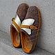 Обувь ручной работы. Ярмарка Мастеров - ручная работа. Купить Тапки валяные женские c кожей и замшей Бежевые с Горчица Золото. Handmade.