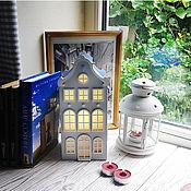 Для дома и интерьера handmade. Livemaster - original item Saint Gallen. Lamp-house pale gray with a blue roof. Handmade.