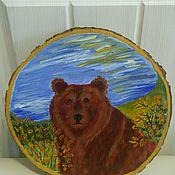"""Картины ручной работы. Ярмарка Мастеров - ручная работа Панно-картина на спиле дерева """"Бурый медведь"""". Handmade."""