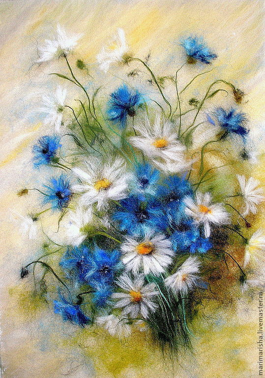Picture of wool 'greetings from the summer of cornflowers and daisies', Pictures, St. Petersburg,  Фото №1